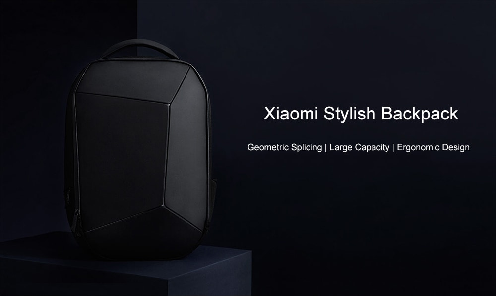 Xiaomi Trendy Geometric Splicing Reflective Water-resistant Backpack- Black